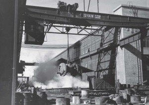 A bridge crane at the rail yards circa 1943 Jack Delano Photographer Farm Security Administration Office of War Information photograph collection (Library of Congress)