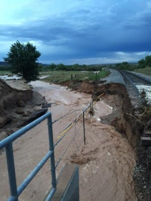 Train tracks north of Algodones got washed out in a flash flood Friday evening. (Courtesy of Augusta Meyer) 2